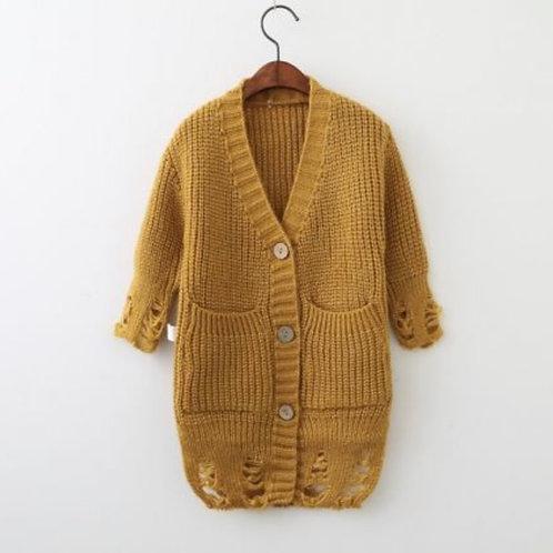 Distressed Long Knit Cardigan