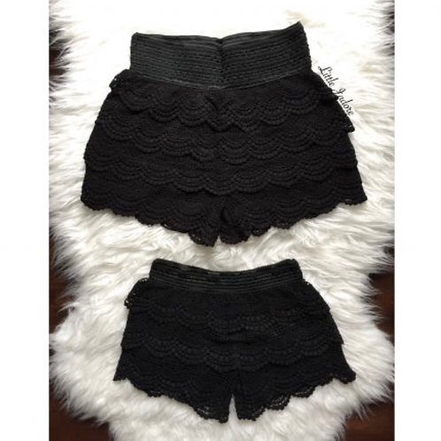 Mommy and Me Tiered Crochet Lace Short
