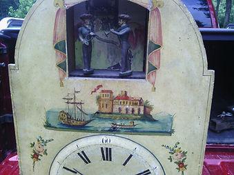 antique black forest clock, black forest clocks, cuckoo clock, trumpeter clock, flute clock, organ clock
