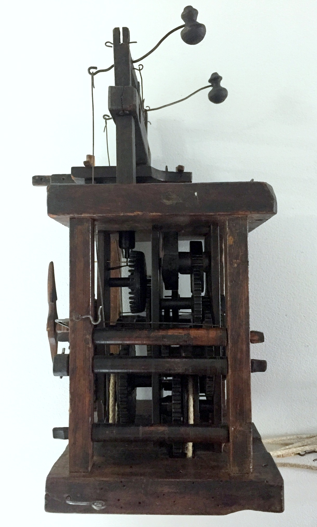 Black Forest Glass Bell Clock movement side view