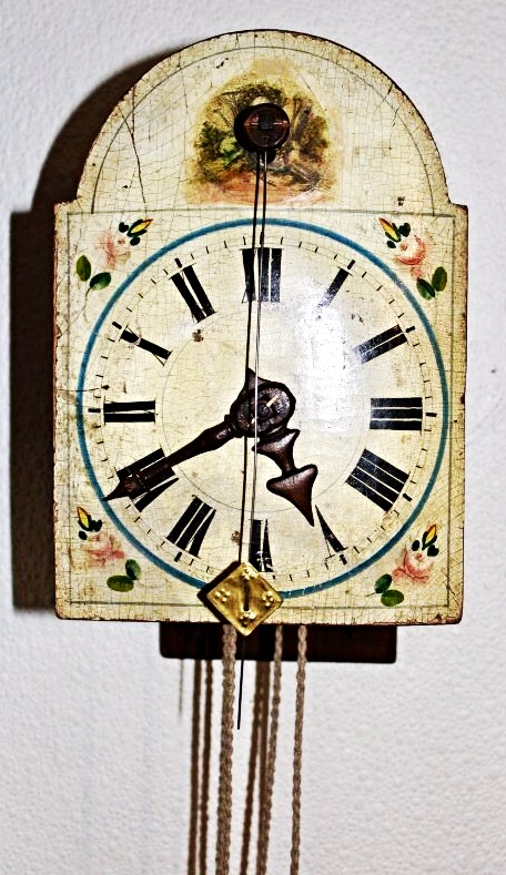 1700's Wood gear shield clock