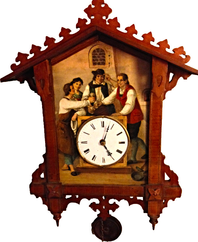 Beha painting on tin cuckoo clock