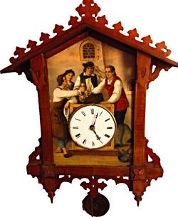 Beha painting on tin cuckoo clock