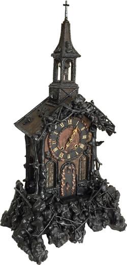 Early burled wood Monk clock