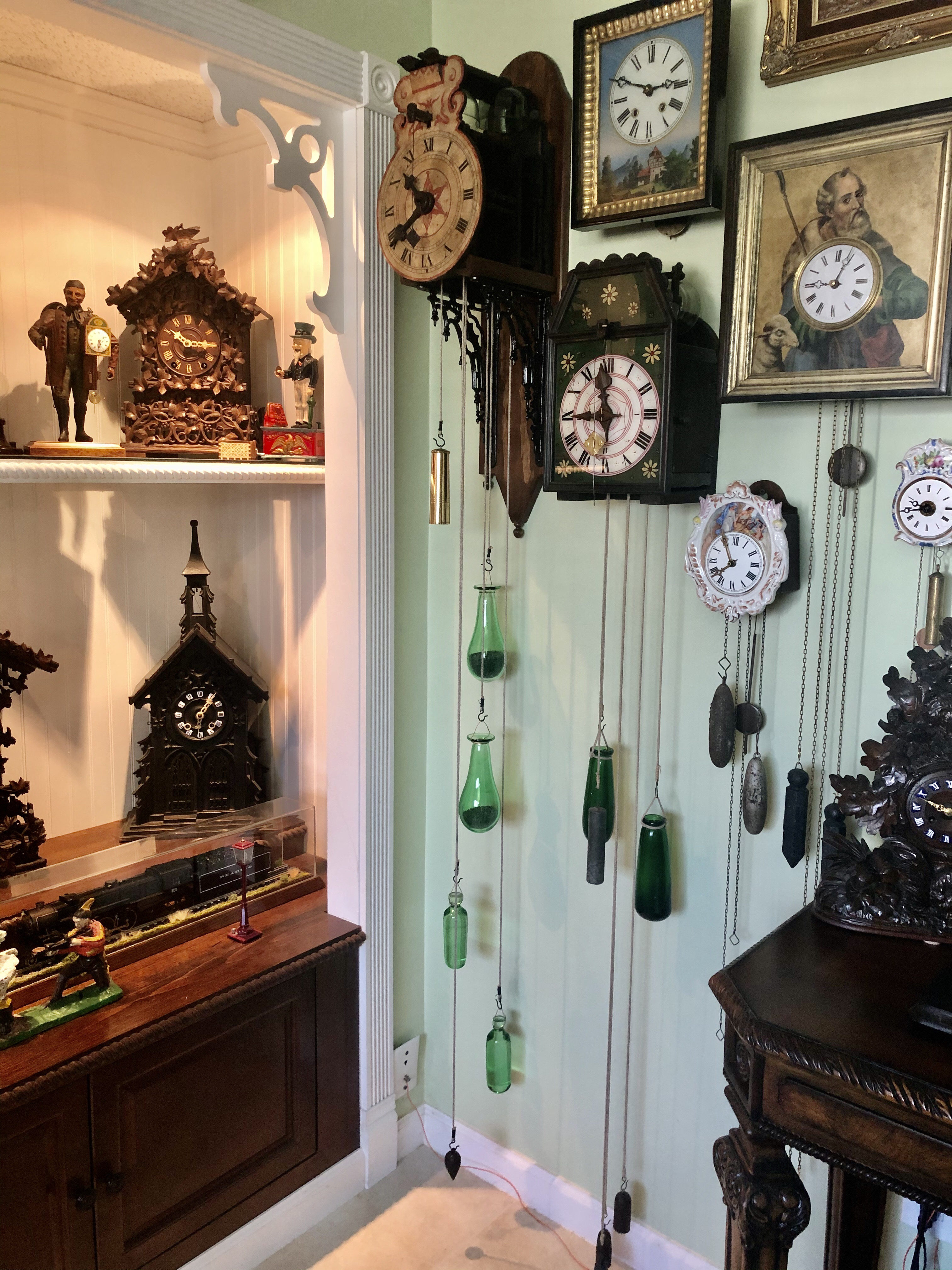 1700's Black Forest glass bell clock