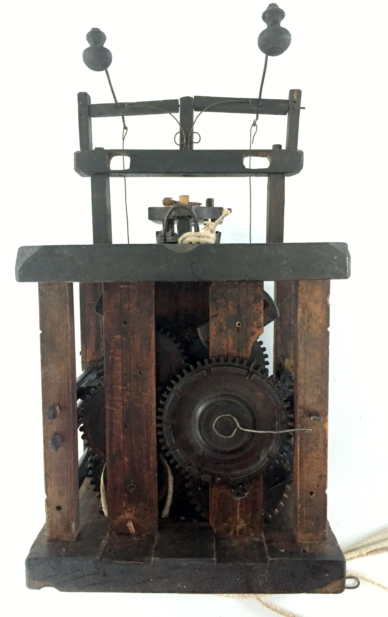 Black Forest Glass Bell Clock movement back view