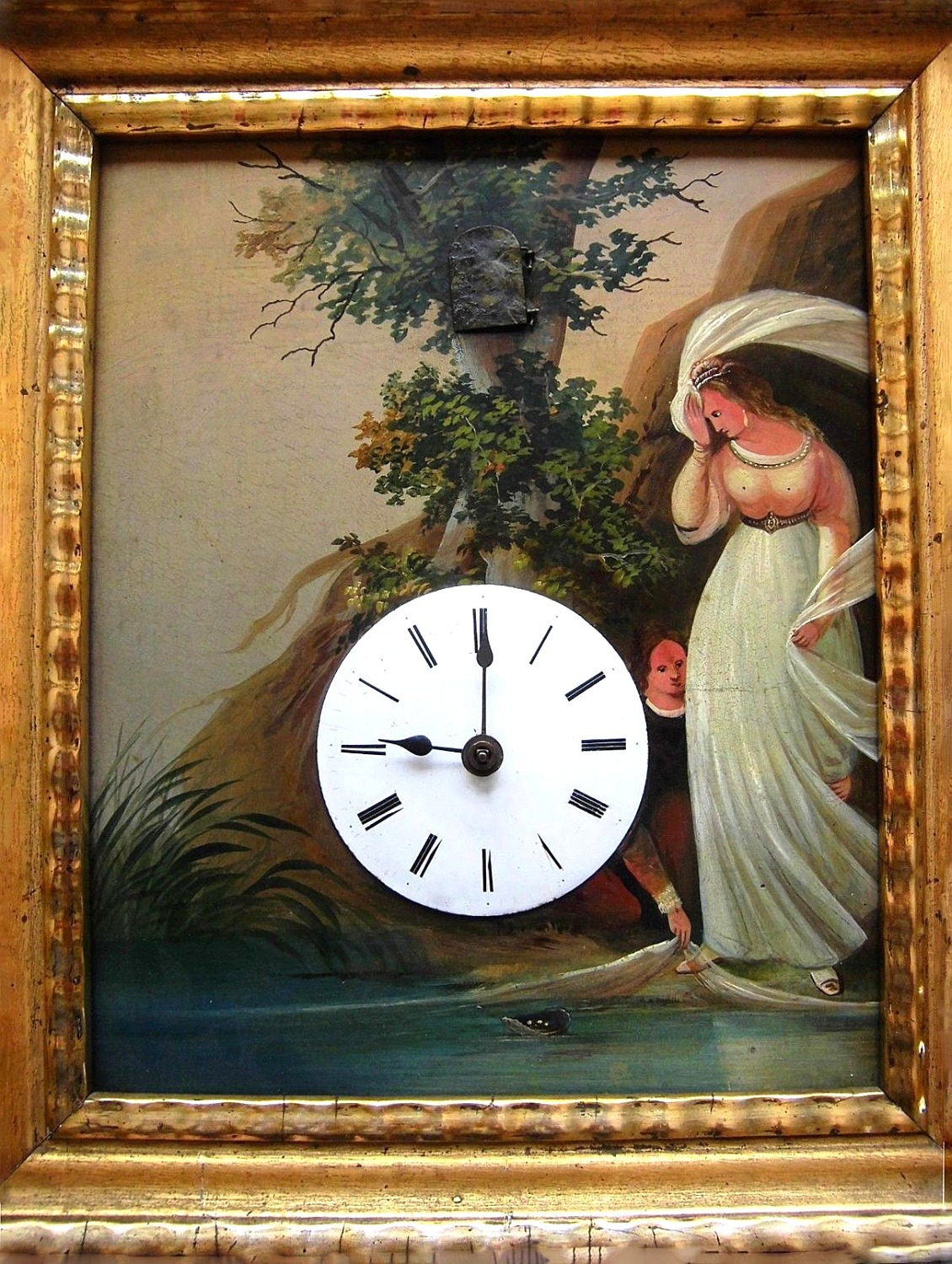 Black Forest clock tin paint cuckoo