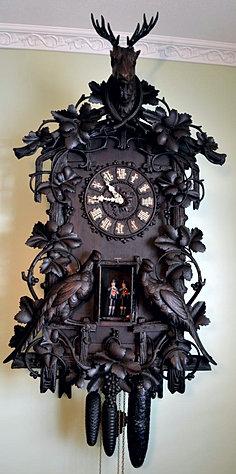 antique black forest clock black forest clocks cuckoo clock trumpeter clock flute sale image