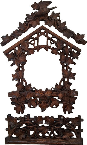 antique black forest clock, black forest clocks, cuckoo clock, trumpeter clock, flute clock, monk clock. organ clock