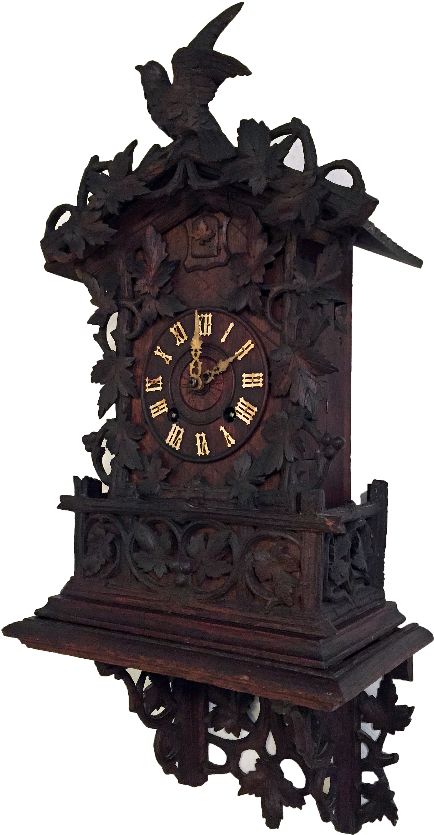 black forest cuckoo clock side view
