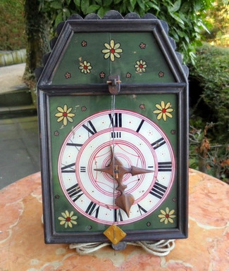 One more added to the collection of early wooden gear Black Forest clocks