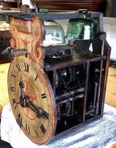 1700's Black Forest glass bell clock Mov