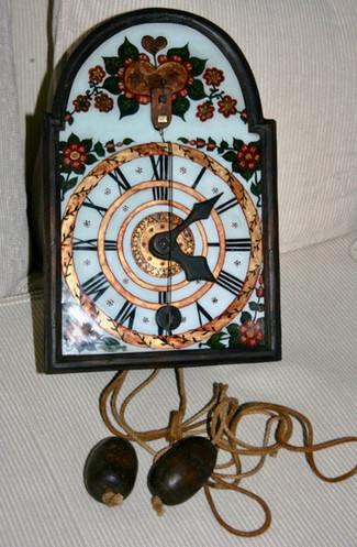 I just made another deal on this early wood gear clock with a glass bell