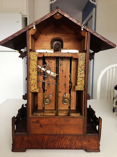 antique black forest clock, black forest clocks, cuckoo clock, trumpeter clock, flute clock, organ clock