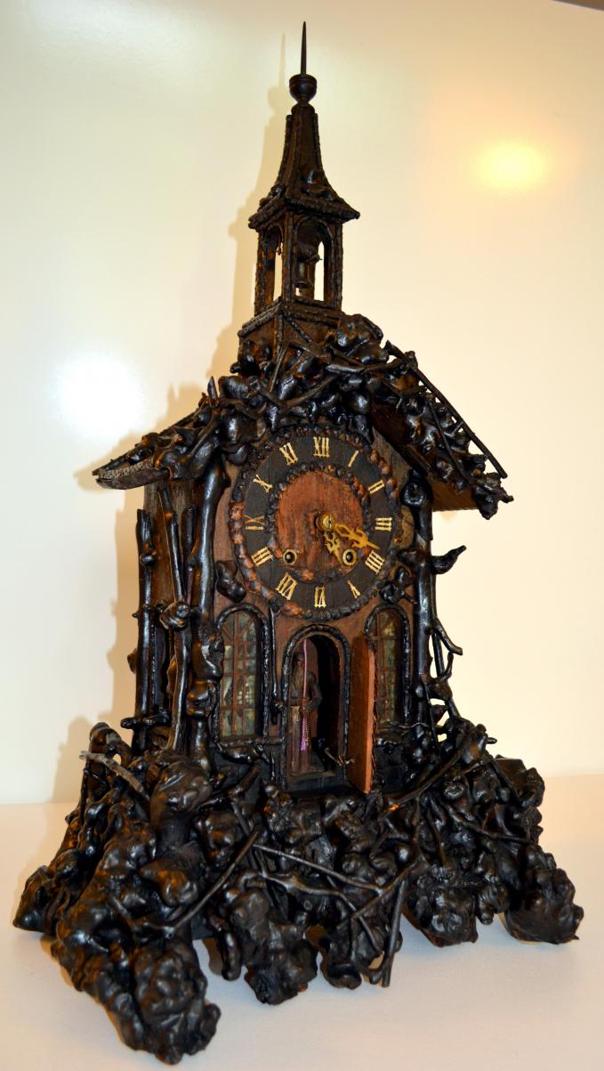 Early burled wood Monk clock