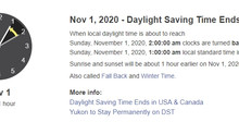 Daylight Saving Time End 2020