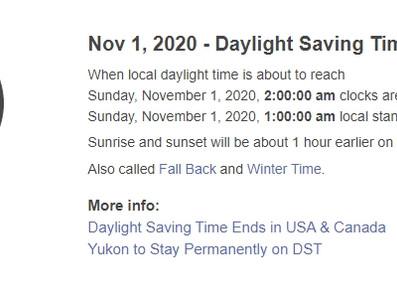 Daylight Saving Time End 2020