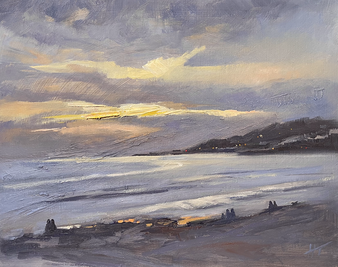 Evening Lights from Charmouth Beach, looking towards Lyme Regis