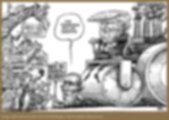 kevin kal kalaugher cartoon of trump bull dozing barack obama and ending the paris accords