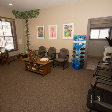 The reception area is large and provides patients with plenty of room to unwind before their adjustment.