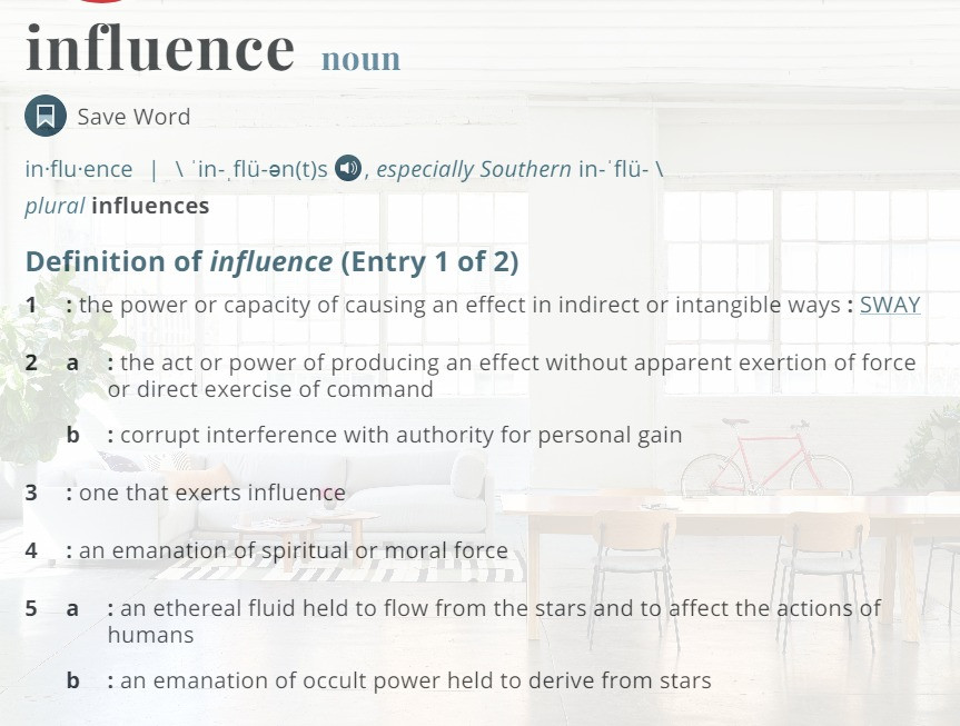 """definition of """"influence"""""""