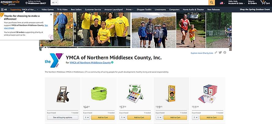 Screenshot of the YMCA Amazon Wish List page