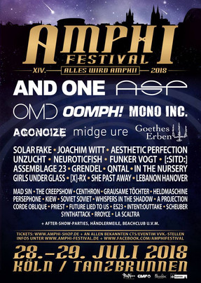 Vorschau: XIV. Amphi Festival - Tanzbrunnen, Köln - 28. + 29.07.2018