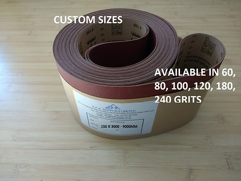 Pad Sander Belt Grade 120 150 x 3000-9000mm 5 belts per pack.