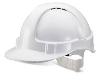 White economy vented hard hat