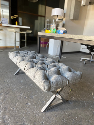 Concrete & Steel Tufted Bench