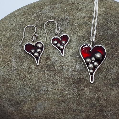 Bubble heart Pendant and ear ring set