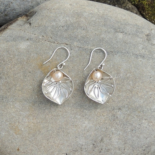 pearl veined leaf earrings