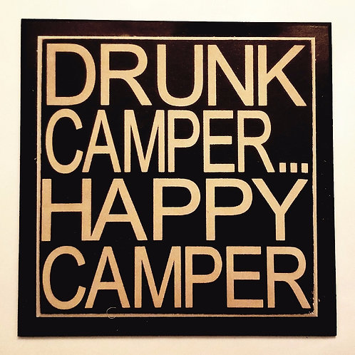 "7"" x 7"" Double layer square sign DRUNK/CAMPER"