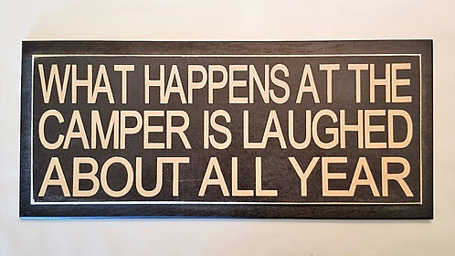 "14"" x 6"" Double layer square sign CAMPER/LAUGH"
