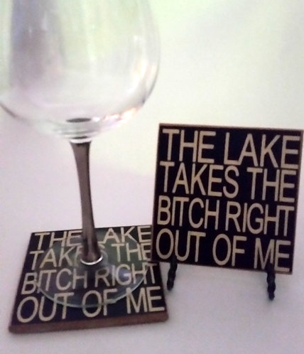 "4"" x 4"" Coaster LAKE/BITCH"