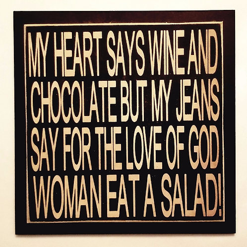 """7"""" x 7"""" Double layer square sign WINE/CHOCOLATE"""
