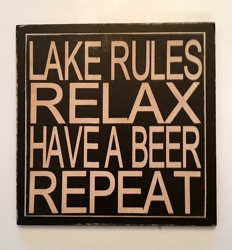 "7"" x 7"" Double layer square sign LAKE RULES"