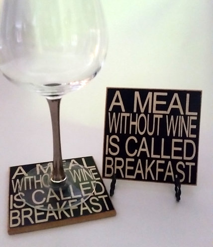 "4"" x 4"" Coaster WINE/BREAKFAST"
