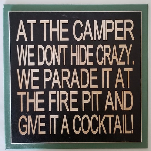 "12"" x 12"" Double layer square sign CAMPER/COCKTAIL"