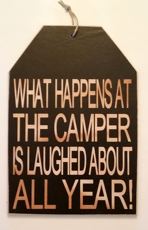 "5 1/2"" x 8"" Small Tag Sign CAMPER/LAUGH"