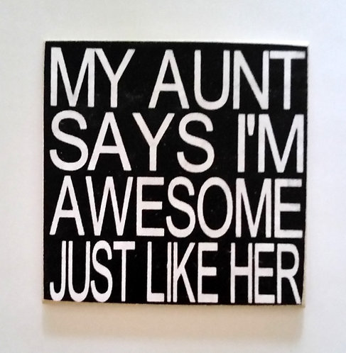 """2"""" X 2"""" Magnet AUNT/ AWESOME"""