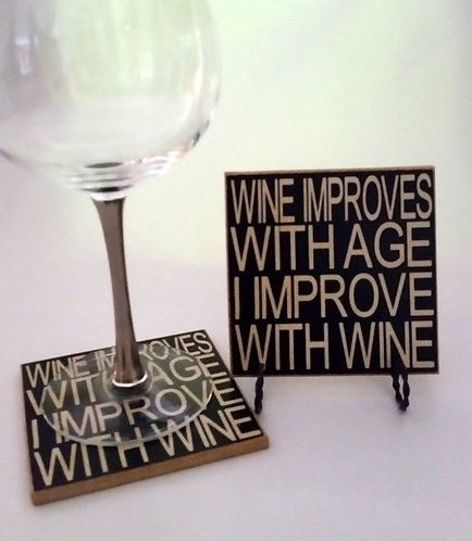"4"" x 4"" Coaster WINE/IMPROVES"