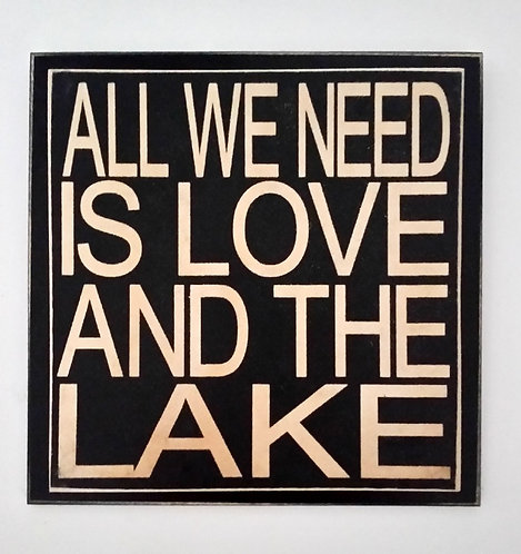 "7"" x 7"" Double layer square sign LOVE/LAKE"
