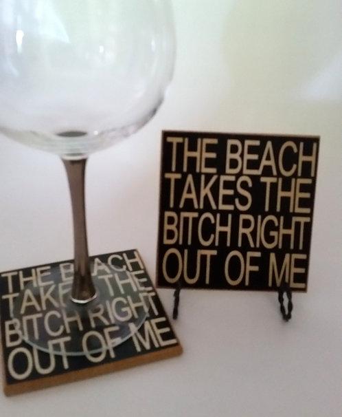 """4"""" x 4"""" Coaster BEACH/ BITCH"""