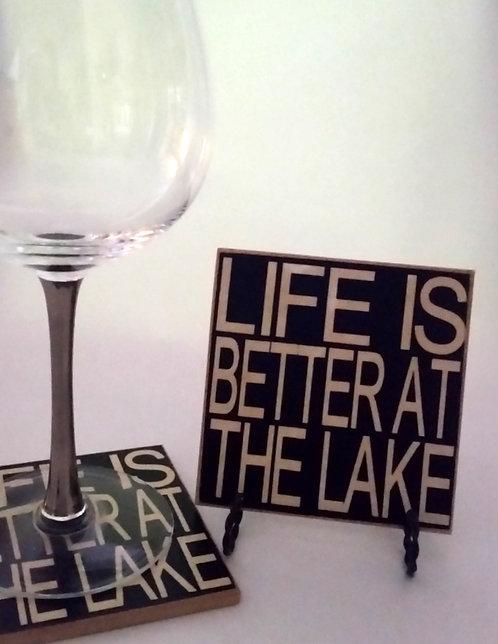 "4"" x 4"" Coaster LIFE/LAKE"