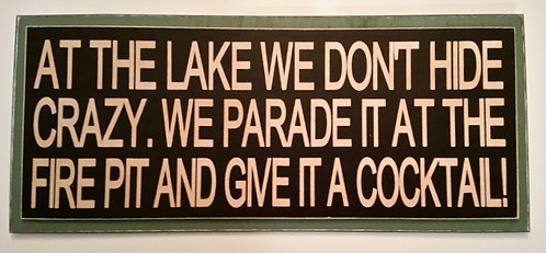 """14"""" x 6"""" Double layer square sign LAKE/FIRE PIT"""