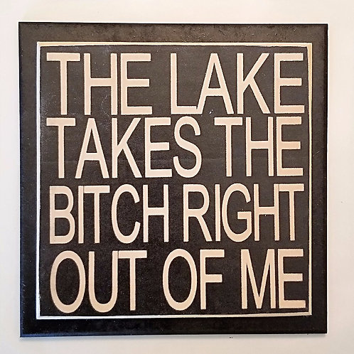 "7"" x 7"" Double layer square sign LAKE/BITCH"
