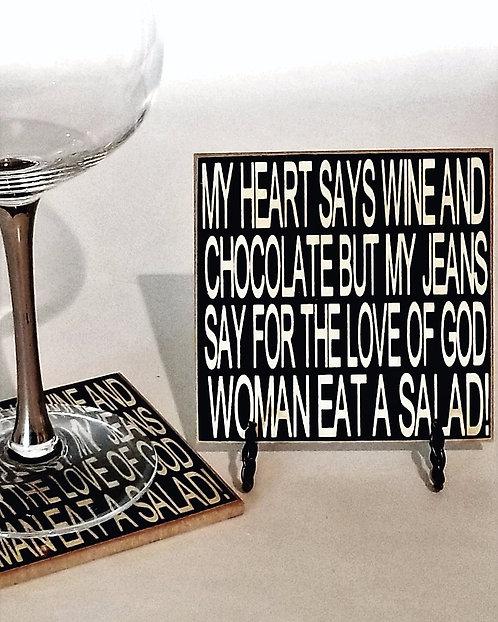 "4"" x 4"" Coaster WINE/CHOCOLATE"