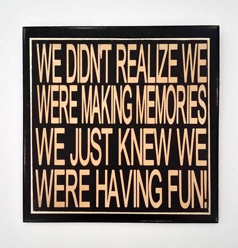 "7"" x 7"" Double layer square sign MEMORIES"