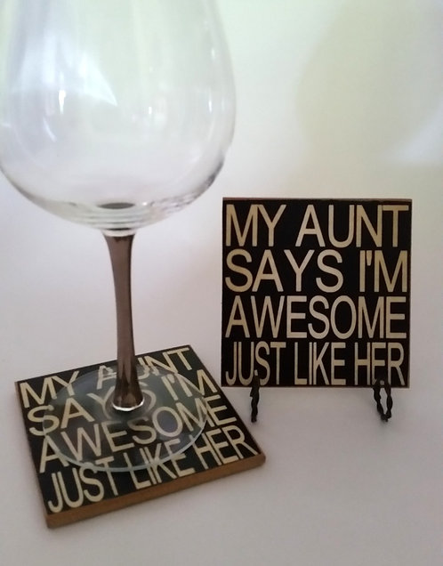 "4"" x 4"" Coaster AUNT/ AWESOME"